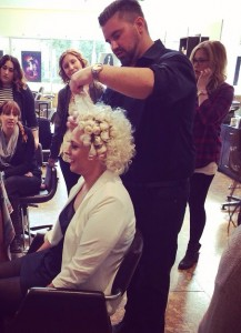 Tony Caldwell demonstrating for the stylist